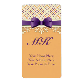 Purple Bow Lotus Yellow Flourish Orange Diamond Label