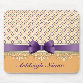 Purple Bow Lotus Yellow Flourish Orange Diamond Mouse Pad