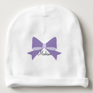 Purple Bow Monogram Baby Beanie