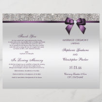 Purple Bow Silver Sequins Wedding Ceremony Program