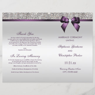 Purple Bow Silver Sequins Wedding Ceremony Program