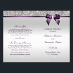 """Purple Bow Silver Sequins Wedding Ceremony Program Flyer<br><div class=""""desc"""">Beautiful wedding ceremony program with a beautiful sparkly printed glitter, rhinestones, sequins pattern and shiny printed vector diamond bow and ribbon and purple text. I have matching products in my store. Text, font and colors of font are all customizable to meet your needs. If you need assistance customizing your product...</div>"""