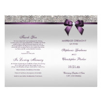 Purple Bow Silver Sequins Wedding Ceremony Program Flyer