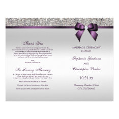 Purple Bow Silver Sequins Wedding Ceremony Program Flyer at Zazzle