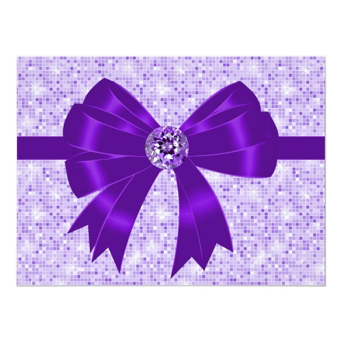 Purple Bow Sparkle Girls 18th Birthday Party Card