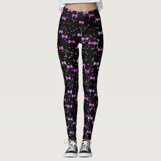 Purple Bow Tie Watercolor Kawaii with Cute Dots Leggings