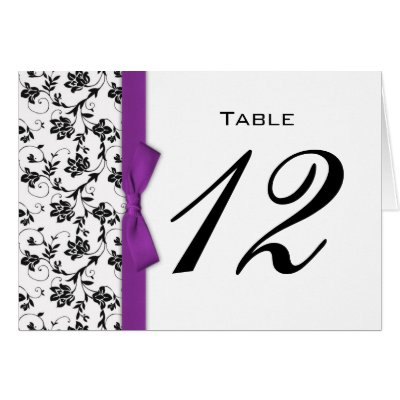 Purple Bow Wedding Table Number Greeting Cards by Eternalflame