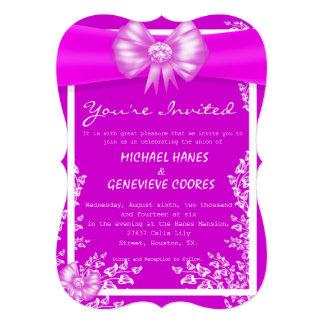 Purple Bow With Diamond Floral Wedding Invitation