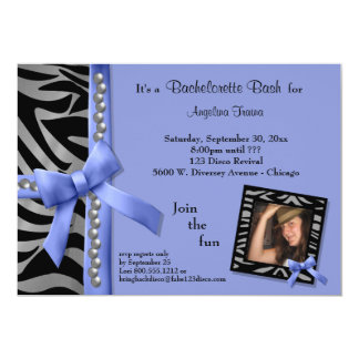 Purple Bow With Silver Pearls And Zebra Stripes 5x7 Paper Invitation Card