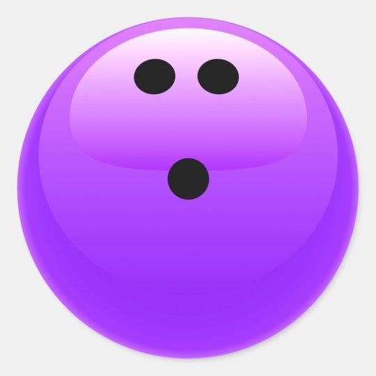 Purple Bowling Ball Classic Round Sticker