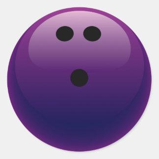 PURPLE BOWLING BALL ROUND STICKER