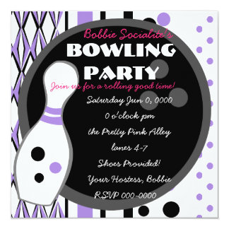 Purple Bowling Party Card