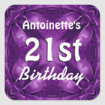 Purple Bows 21st Birthday Custom Name A02 Square Sticker