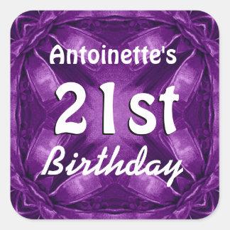 Purple Bows 21st Birthday Custom Name A02 Square Sticker