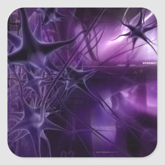 Purple Brain Neurons Square Sticker