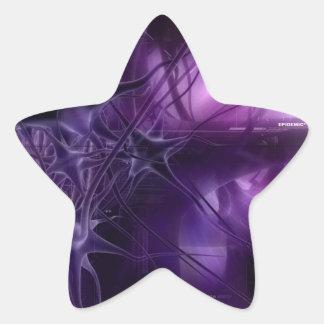 Purple Brain Neurons Star Sticker