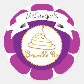 Purple bramble pie tart label