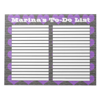 Purple Brick Solid Heart two column to-do list pad