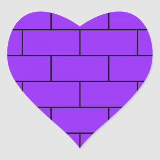 Purple Bricks Structure Pattern Heart Sticker