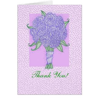 Purple Bridal Shower Bouquet Thank You Card