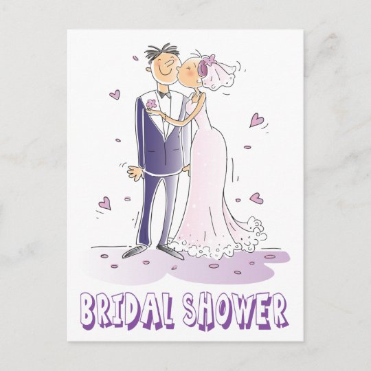 purple bridal shower cartoon bride groom wedding invitation postcard