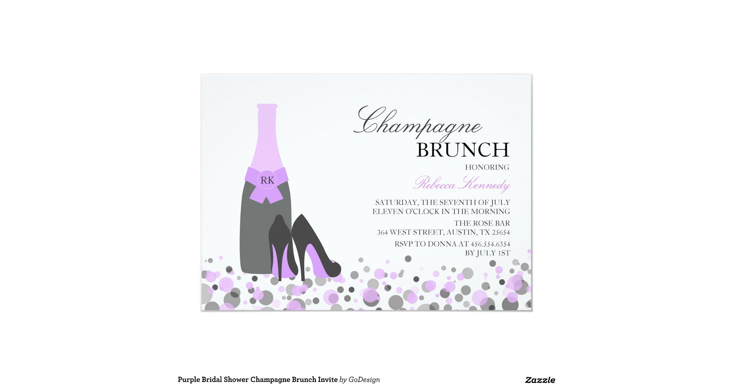 Purple bridal shower champagne brunch invite for Champagne brunch bridal shower