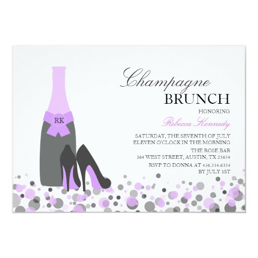 Purple bridal shower champagne brunch invite zazzle for Champagne brunch bridal shower