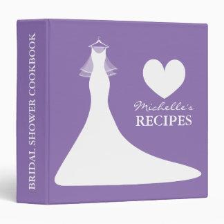 Purple bridal shower cookbook recipe binder