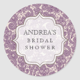 Purple Bridal Shower Dessert Table Tag Label