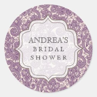 Purple Bridal Shower Dessert Table Tag Label
