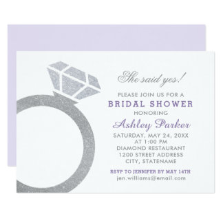 Purple Bridal Shower Invitation | Diamond Ring