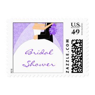 Purple Bridal Shower postage stamps