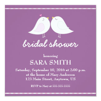 Purple Bridal Shower with Cute Love Birds Card