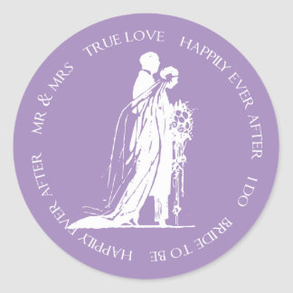 Purple Bride and Groom Happily Ever After Sticker