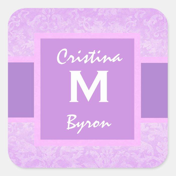 Purple Bride and Groom Monogram Wedding G370 Square Sticker