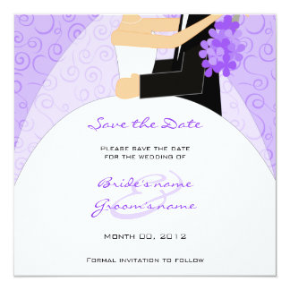 Purple Bride and Groom Save the Date Cards
