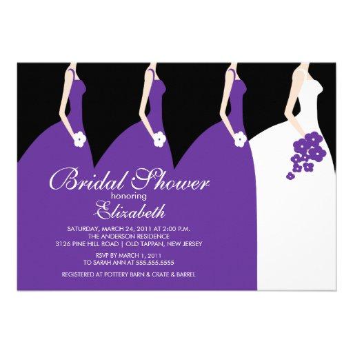 ... bride bridesmaid in purple dresses bridal shower invitation set on