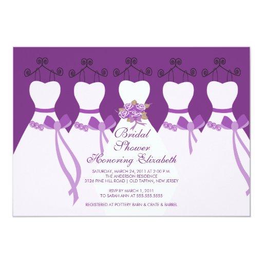 """Purple Bride Bridesmaids Bridal Shower Invitation 5"""" X 7"""" Invitation Card"""