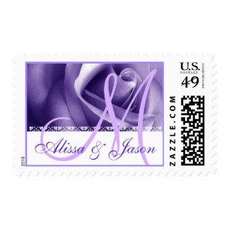 PURPLE Bride Groom Monogram Wedding Rose V01 Stamp