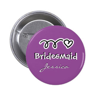 Purple bridesmaid buttons | personalized name 2 inch round button