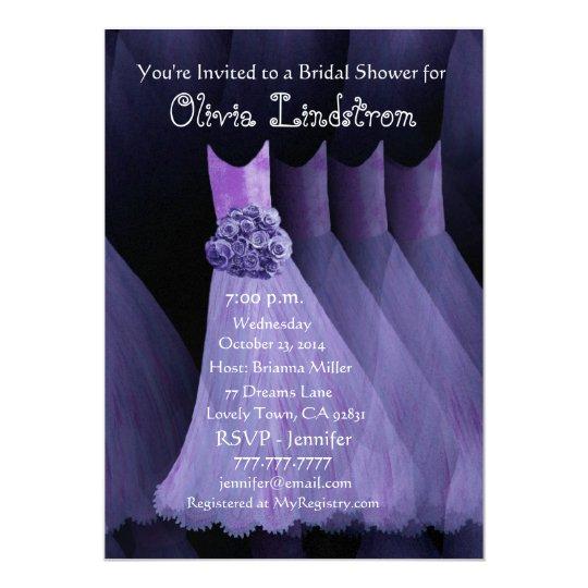 PURPLE Bridesmaid Dresses Bridal Shower Invitation