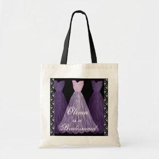 PURPLE Bridesmaid Dresses Cotton Tote Bag