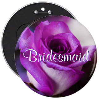 Purple Bridesmaid Rose Button
