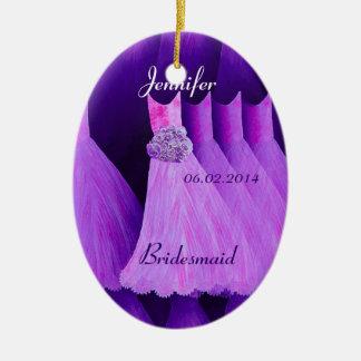 PURPLE Bridesmaid Thank You Wedding Ceramic Ornament