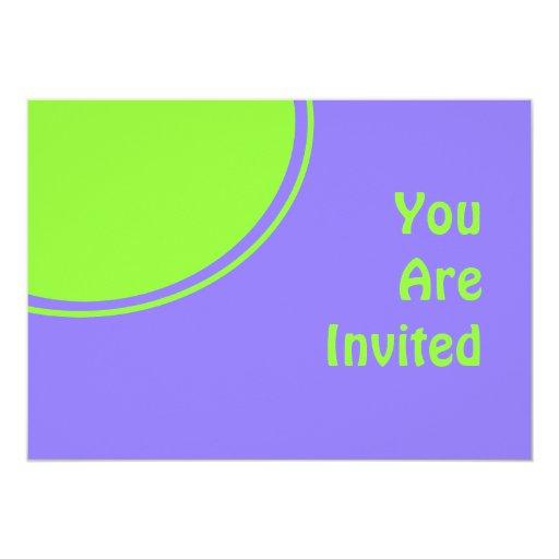 purple bright green mod party invite