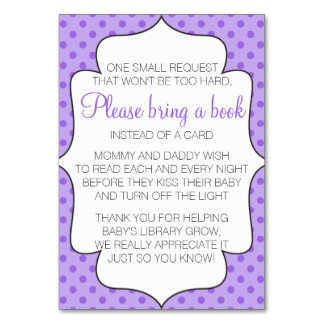 Purple Bring A Book Instead of a Card Insert Table Card