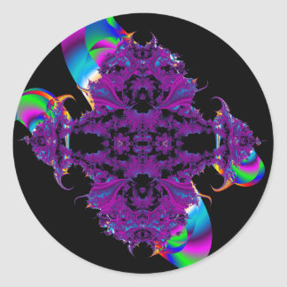 purple broach and ribbon fractal sticker/envelope classic round sticker