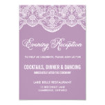 Purple Brocade Lace Wedding Reception Card