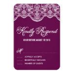 Purple Brocade Lace Wedding RSVP Card