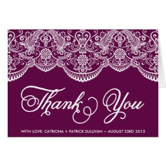 Purple Brocade Lace Wedding Thank You Card